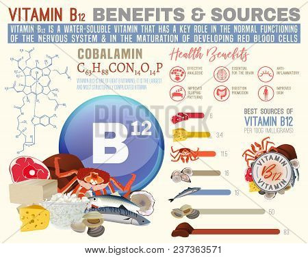 Vitamin B12 Benefits And Sources. Useful Infographic With Lots Of Elements - Molecular Structure, Ba