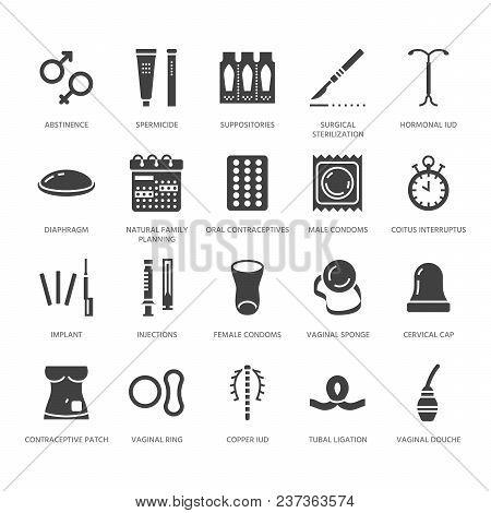 Contraceptive Method Flat Glyph Icons. Birth Control Equipment, Condoms, Oral Contraceptives, Iud, V