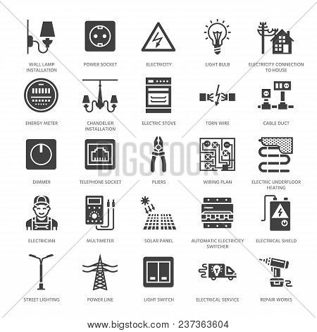 Electricity Engineering Vector Flat Glyph Icons. Electrical Equipment, Power Socket, Torn Wire, Ener