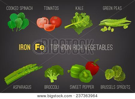 Top Five Iron Rich Vegetables - Kale, Broccoli, Brussels Sprouts, Peas, Tomatoes, Asparagus, Sweet P