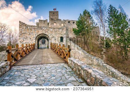 Medieval Castle Strecno Nearby Zilina Town, Slovakia, Europe.