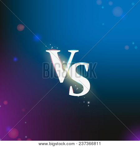 Neon Versus Logo Vs Letters For Sports And Fight Competition. Battle Vs Match, Game Concept Competit