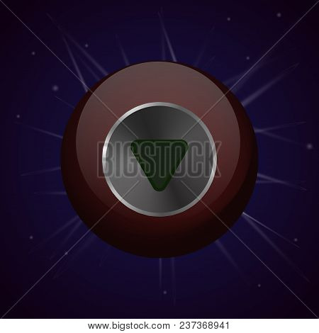Crystal Magic Ball. Witchcraft And Predictions. Vector Illustration. Icon On Sky Background.