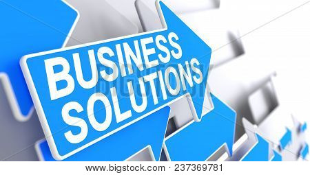 Business Solutions, Inscription On The Blue Cursor. Business Solutions - Blue Pointer With A Message