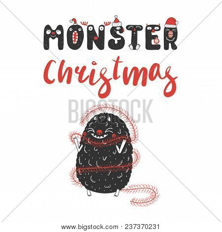 Hand Drawn Christmas Greeting Card With A Cute Funny Cartoon Monster, Wrapped In Tinsel. Isolated Ob
