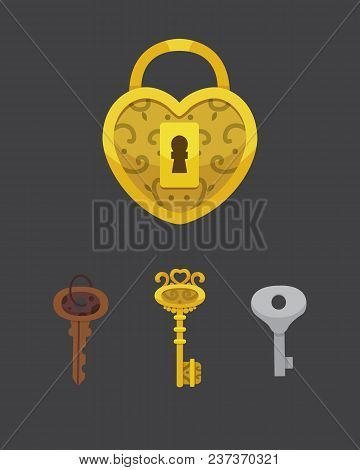 Set Of Vintage Keys And Locks. Vector Illustration Cartoon Padlock. Secret, Mystery Or Safe Icon