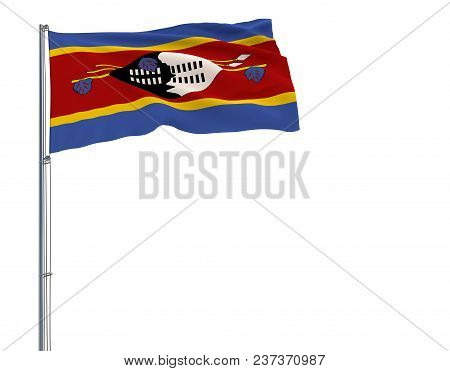 Isolate Flag Of Kingdom Of Eswatini - Swaziland On A Flagpole Fluttering In The Wind On A White Back