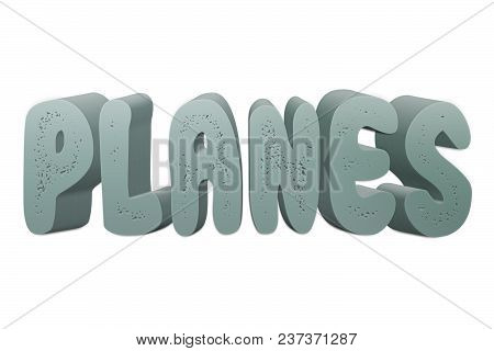 Planes Text For Title Or Headline In 3d Style With Small Holes In The Letters