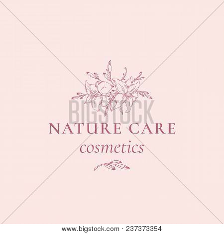 Nature Care Cosmetics Abstract Vector Sign, Symbol Or Logo Template. Hand Drawn Retro Lilly Illustra