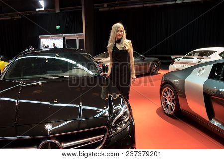 Tel-aviv, Israel - April 4, 2017: Undefined Beautiful Promotion Girl At Tel-aviv Motor Show. Israel