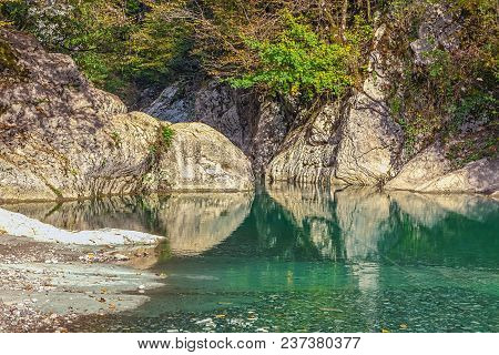 The Lake Is Next To The Navalischensky Canyon. Sochi National Park. Russia.