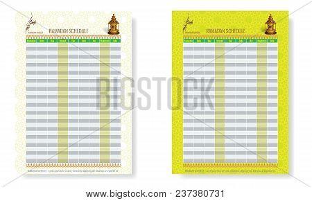 Ramadan Calendar Schedule - Fasting, Iftar And Prayer Time Table Guide. Translation - Holy Ramadan.