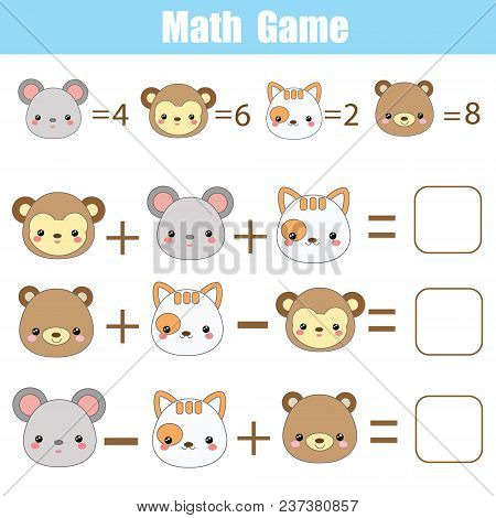 Math Educational Game For Children. Counting Equations. Mathematics Worksheet With Cute Animals Face
