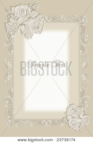 Wedding invitation, frame rose