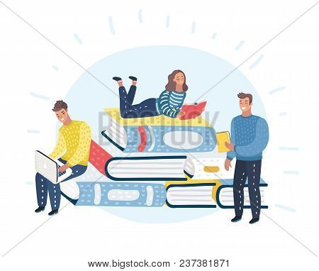 Vector Cartoon Illustration Of Young People Readers Are Sitting, Standing, Lying On Stack Of Giant B