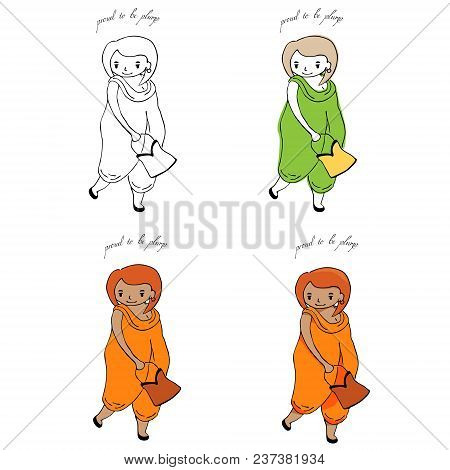 Hand Drawn Proud To Be Plump Illustration Of A Cute Curvy Girl In Jumpsuit, Holding Handbag. Set Of