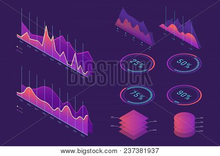 Vector Isometric Infographic Element Set. Colorful Infographic Design. Design Elements For Business