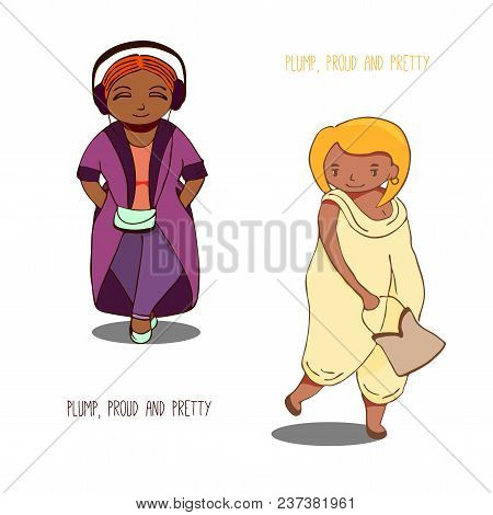 Hand Drawn Vector Illustration Of Tanned Curvy Girls: One In Jeans And Long Coat, Another In Jump Su