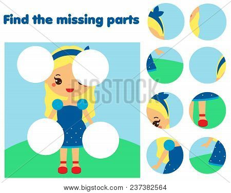 Puzzle Game, Find Missing Part Of Picture. Educational Activity For Pre School Years Kids, Toddlers