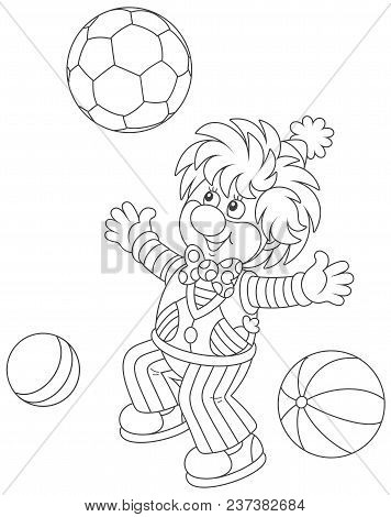 Funny Circus Clown Playing With Balls, Black And White Vector Illustration In A Cartoon Style For A
