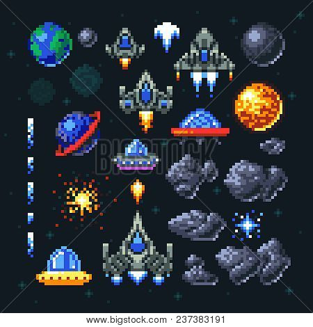 Retro Space Arcade Game Pixel Elements. Invaders, Spaceships, Planets And Ufo Vector Set. Video Arca