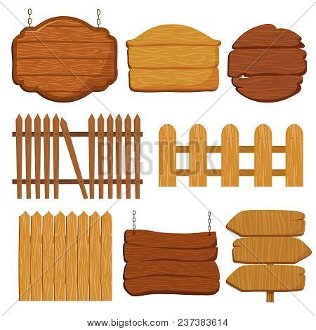 Cartoon Wooden Garden Fence. Blank Wood Banners And Signs Vector Set. Wooden Banner And Wood Fence,
