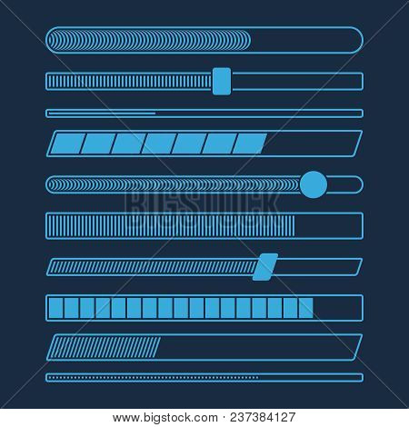 Futuristic Download Progress Loading Bar Vector Set Isolated. Progress Web Interface, Collection Of