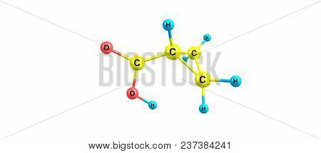 Cyclopropane carboxylic acid molecule isolated on white background. 3d illustration poster