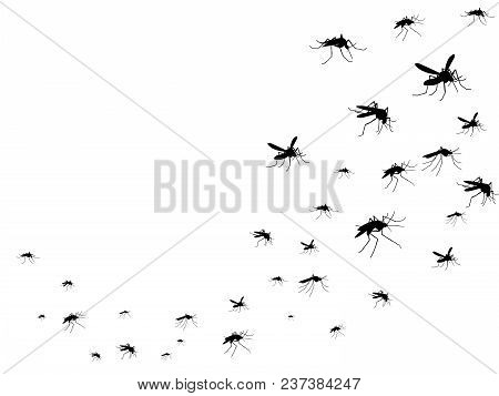 Flying Mosquitoes Black Silhouette Isolated. Insect Flock In Air. Viruses And Diseases Spreading Med