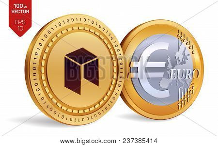 Neo. Euro Coin. 3d Isometric Physical Coins. Digital Currency. Cryptocurrency. Golden Coins With Neo