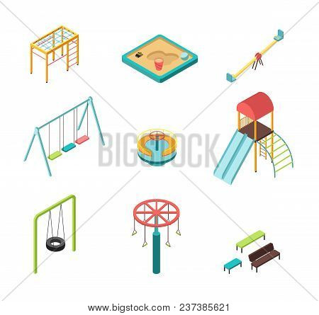 Isometric 3d Outdoor Kids Playground Vector Cartoon Elements Isolated. Illustration Of Slide And Swi