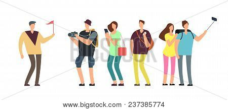 Tourists With Guide On Travel Tour. Travelling People With Family On Vacation Vector Concept. Illust