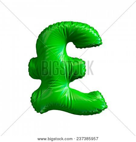 Green symbol pound sterling made of inflatable balloon isolated on white background. 3d rendering