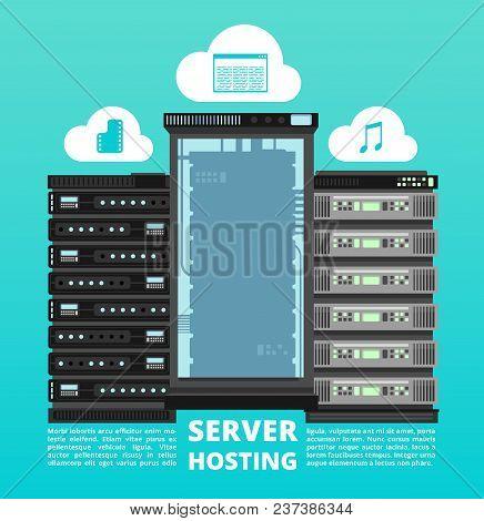 Website Cloud Hosting, Digital Data Storage And Computer Server Support Vector Concept. Cloud Of Net
