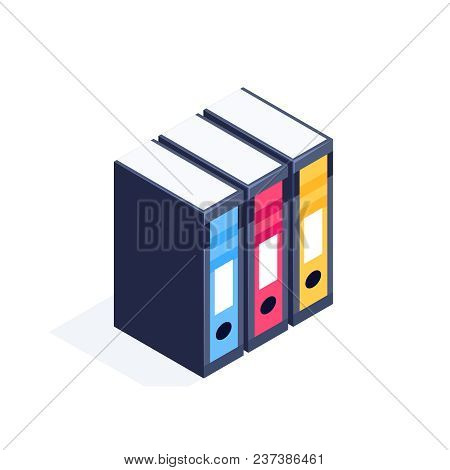 Isometric Office Folders Isolated On White Background. 3d Folders For Business Papers. Icons Of Mult