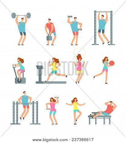 Woman And Man Doing Various Sports Exercises With Gym Equipment. Fitness Cartoon Vector People, Gym