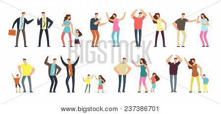 Family And Professional Conflict. Angry Stressed Swearing Men, Women And Kids Cartoon Vector Charact