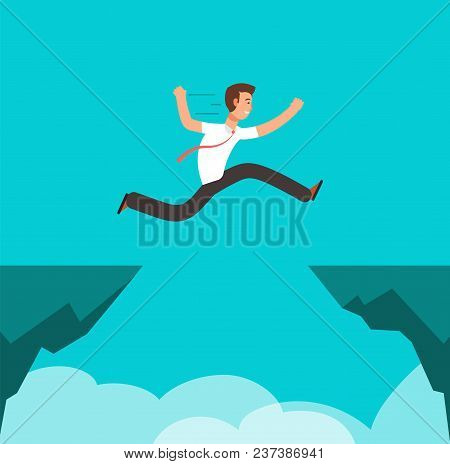 Businessman Jumping Over Canyon. Business Challenge, Successful Overcoming And Risk Vector Cartoon C