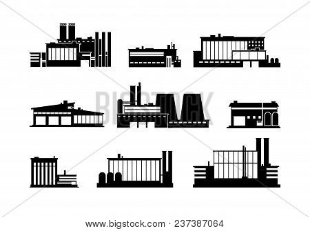 Factory, Manufacturing Plant And Warehouse Black Silhouette Icons Isolated. Factory Construction Bui