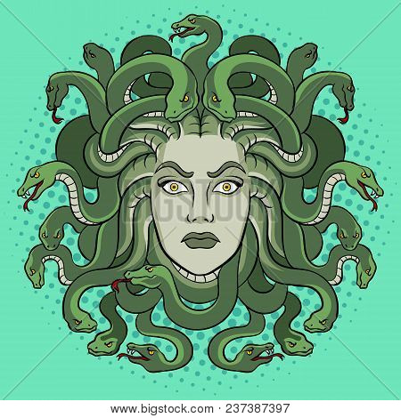 Medusa Head With Snakes Greek Myth Creature Pop Art Retro Vector Illustration. Comic Book Style Imit