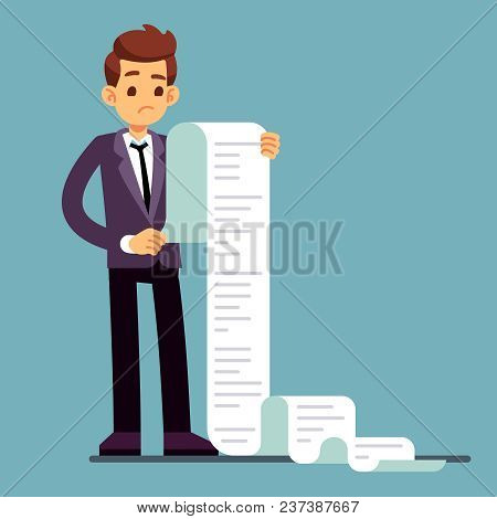 Businessman Or Male Lawyer Reading Long Paper List. Business Questionnaire And Document Report Vecto