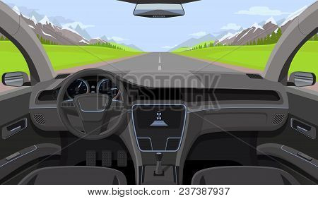 Vehicle Salon, Inside Car Driver View With Rudder, Dashboard And Road, Landscape In Windshield. Driv