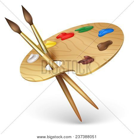 Wooden Artist Palette With Paint Brushes Vector Illustration Isolated On White Background. Wooden, B