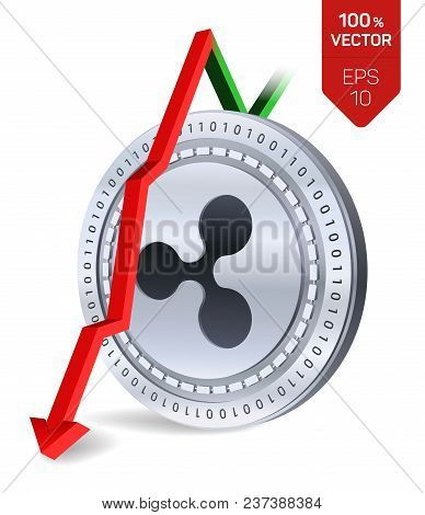 Ripple. Fall. Red Arrow Down. Ripple Index Rating Go Down On Exchange Market. Crypto Currency. 3d Is