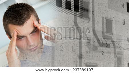 Close up of frustrated man and grey grunge smart tech transition