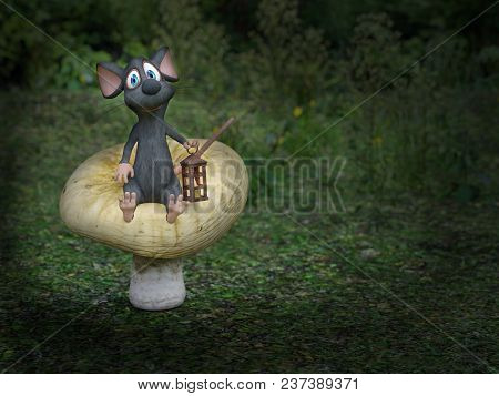 3d Rendering Of A Cute Smiling Cartoon Mouse Sitting On A Mushroom, Holding A Lantern In A Fairytale
