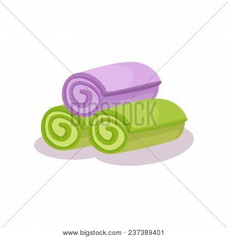 Green And Purple Rolled Up Towels Vector Illustration Isolated On A White Background.