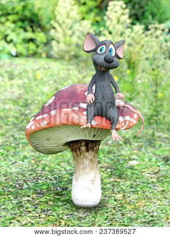 3d Rendering Of A Cute Smiling Cartoon Mouse Sitting On A Fly Agaric Mushroom In A Fairytale Toadsto