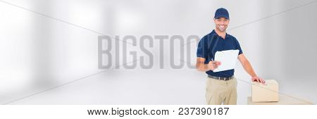 Delivery Courier with box and form in front of blurred background