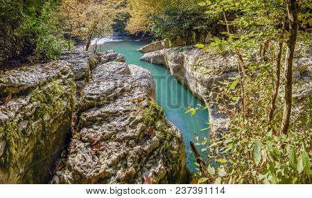 Natural Forms Of Navalischensky Canyon. Sochi National Park.